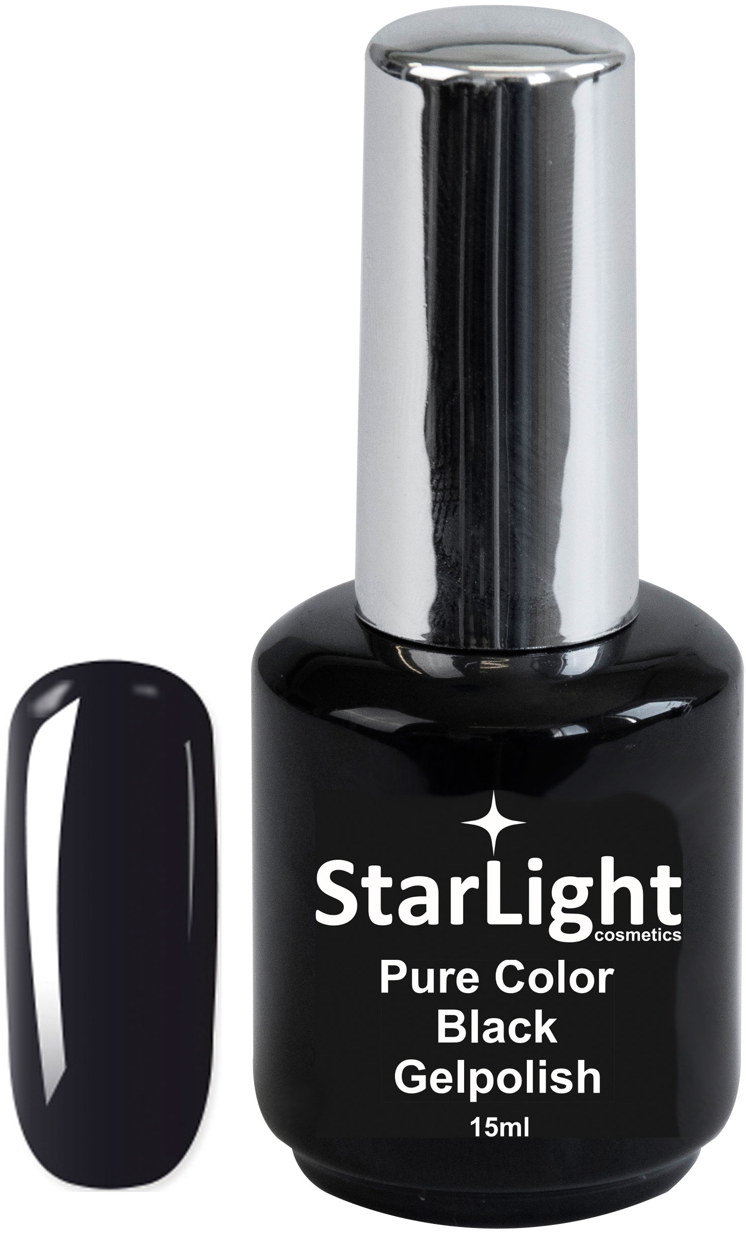 Naglar Gelpolish Pure Color Black - 15 ml