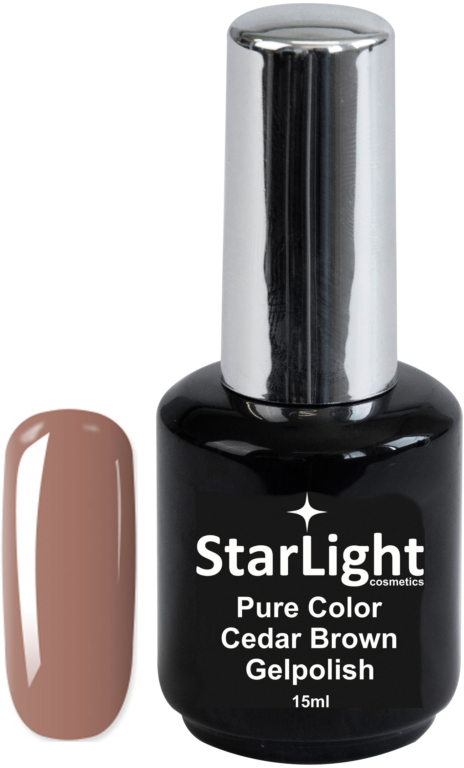 Naglar Gelpolish Pure Color Cedar Brown - 15 ml