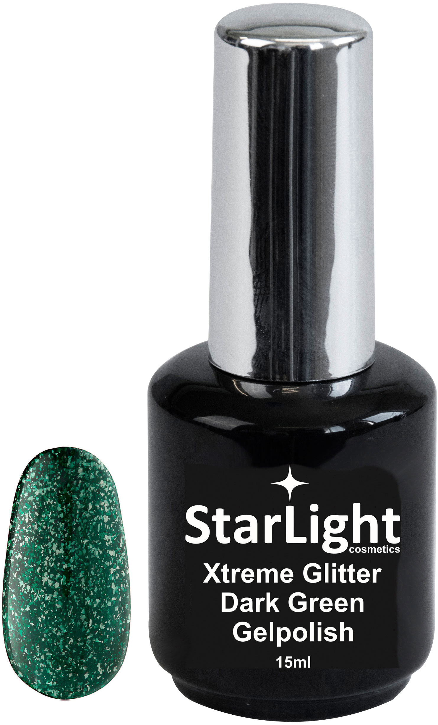 Naglar Gelpolish Xtreme Glitter Dark Green - 15 ml