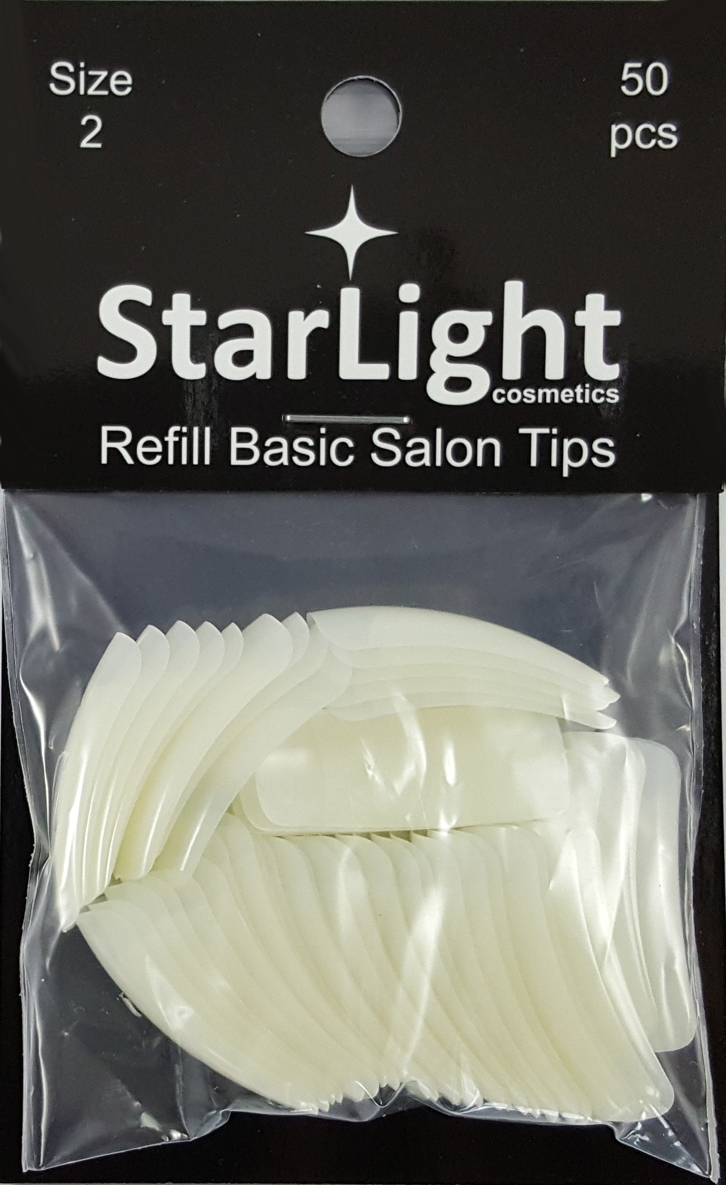 Naglar Basic Salon Tips Refill - 50 st Storlek 2