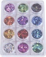 Naglar Rainbow Hexagons - 12 färger i en Bling Bling Box