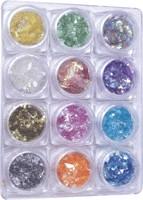 Naglar Flat Crunch - 12 färger i en Bling Bling Box