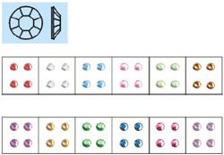 Naglar Nail Art Stenar (rund mellan) - 100 st Ljus Blå