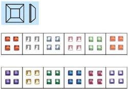 Naglar Nail Art Stenar (square) - 100 st Ljus Blå
