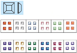 Naglar Nail Art Stenar (square) - 100 st Ljus Grön