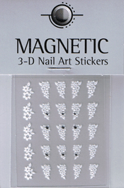 Naglar 3D Nailartsticker  White - 965