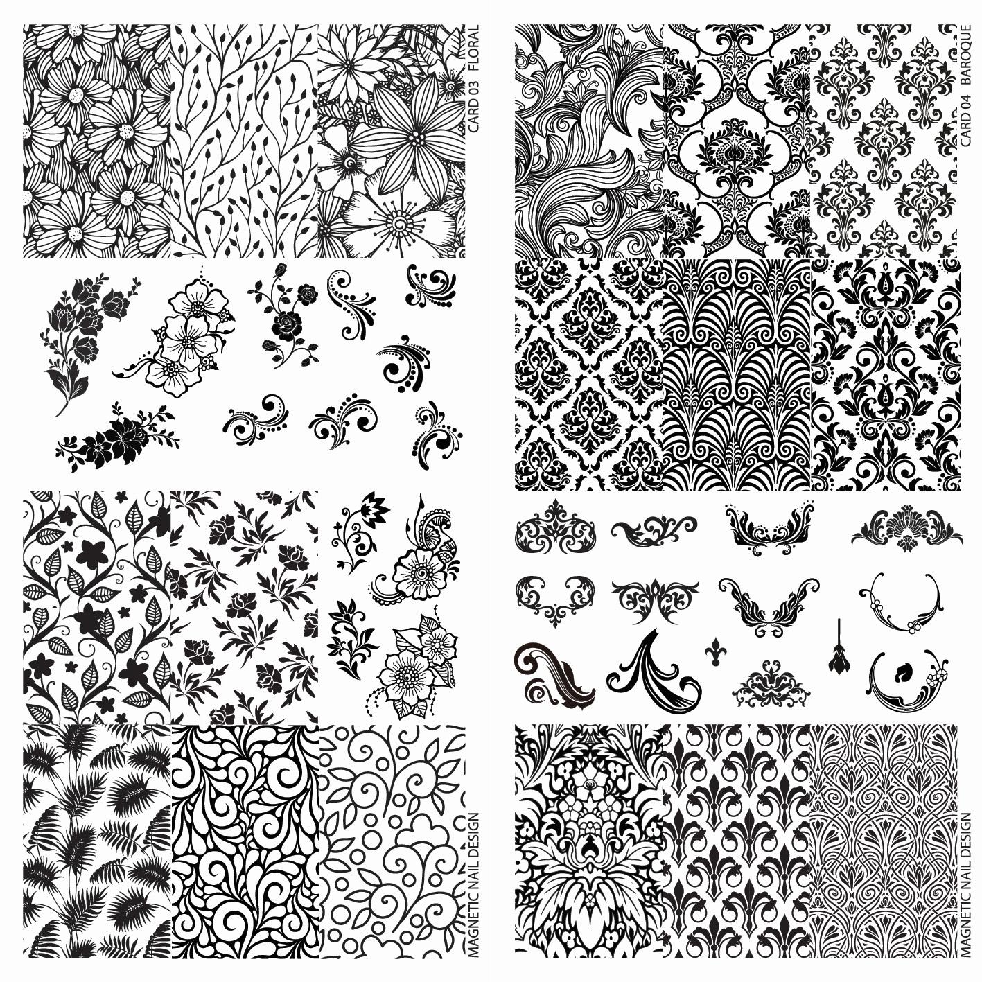 Naglar Stamp Plate Baroque & Floral - 2st (24 olika designer)